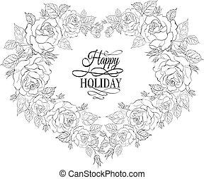 isolement, cadre, fleurs, vendange, roses