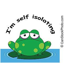 isoler, 19, covid, soi, coronavirus, grenouille