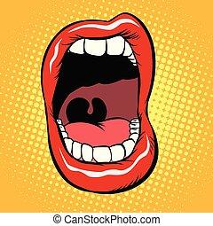 isoler, bouche, fond, dents, blanc, ouvert
