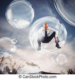 isoler, eux-mêmes, bulle, intérieur