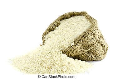 isoler, gunny, sac, fond, riz blanc