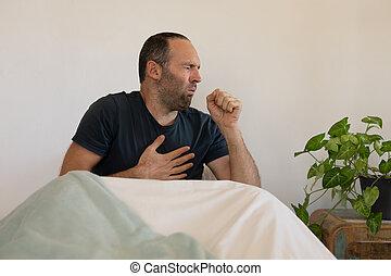 isoler, lockdown, distancing, homme, social, caucasien, co, malade, coronavirus, pendant, quarantaine, soi