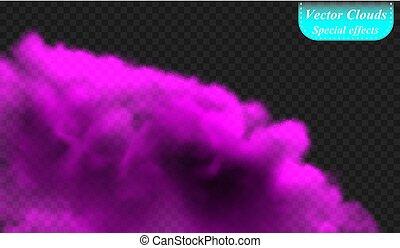 isolera, speciell, täcka, effect., illustration, transparent, bakgrund., vektor, dimma, röka, violett, ultra, eller, moln