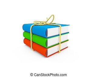 isolerat, böcker, uppe, bundet, synhåll
