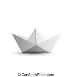 isolerat, bakgrund., papper, origami, skepp, vit