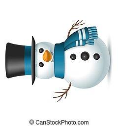 isolerat, bakgrund., top-hat, jul, scarf, vit, vektor, snögubbe, illustration