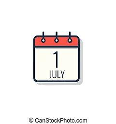 isolerat, dag, bakgrund., kalender, vit, ikon, juli, 1.