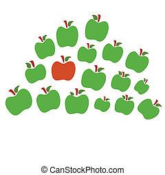 isolerat, en, annat, gröna äpplen, röd