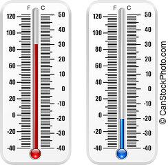 isolerat, fana, bakgrund., vektor, mall, termometer, vit