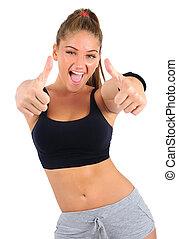 isolerat, fitness, kvinna