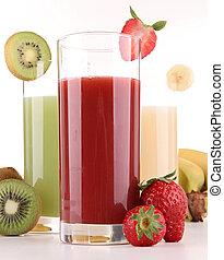 isolerat, frukter, juice