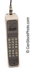 isolerat, gammal, och, smutsa ner, mobiltelefon
