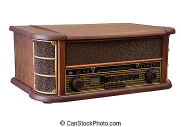 isolerat, gammal,  radio,  retro