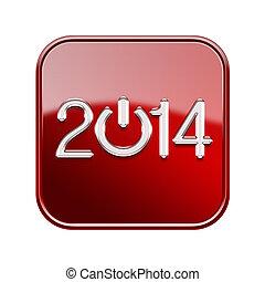 isolerat, glatt, bakgrund, år, 2014, vit röd, ikon
