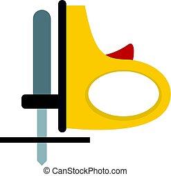isolerat, gul, sladdlös, gengäldande såg, ikon