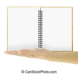 isolerat, hand, anteckningsbok, presenterande, mall, tom, vit