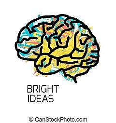 isolerat, hjärna, ikon, bakgrund., vit