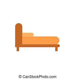 isolerat, ikon, säng, kudde, möblemang