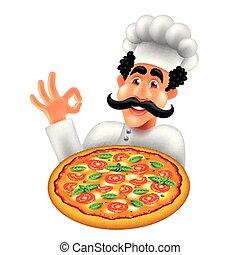 isolerat, illustration, kock, vektor, pizza, tecknad film, italiensk