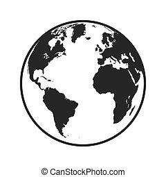 isolerat, illustration, planet, vektor, design, värld, mull, ikon