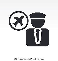 isolerat, illustration, singel, vektor, ikon, pilot
