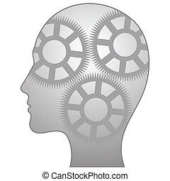 isolerat, illustration, singel, vektor, ikon, thinking-man