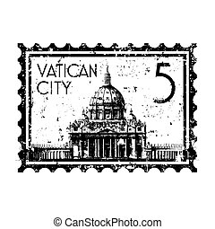 isolerat, illustration, singel, vektor, vatikanen, ikon