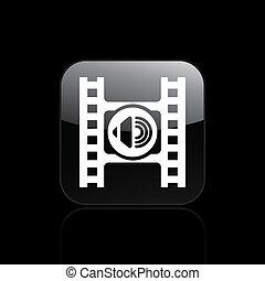 isolerat, illustration, spelare, singel, vektor, audio, ikon
