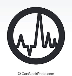 isolerat, illustration, våg, singel, vektor, audio, ikon