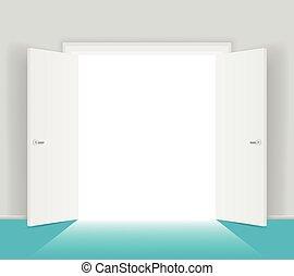 isolerat, illustration, vektor, dörrar, vit, öppna
