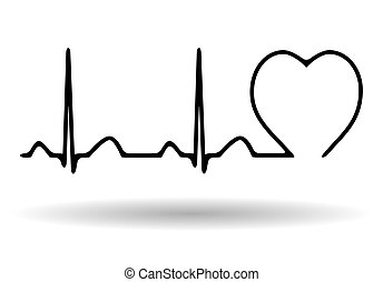 isolerat, kardiogram, ikon, bakgrund, vit