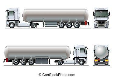 isolerat, mall, tankfartyg, vektor, lastbil, realistisk