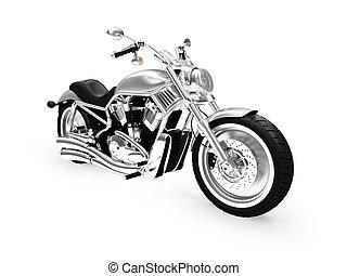isolerat, motorcykel, framdelen beskådar