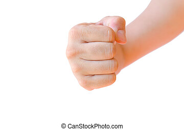 isolerat, näve, hand