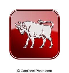 isolerat, oxen, bakgrund, zodiaken, röd, vit, ikon