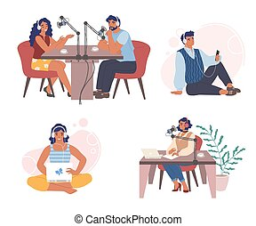 isolerat, podcast, sätta, lägenhet, radio, illustration, ...