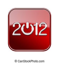 isolerat, röd, glatt, bakgrund, år, vit, 2012, ikon