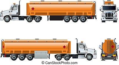 isolerat, realistisk, vektor, lastbil, mall, vit, tankfartyg