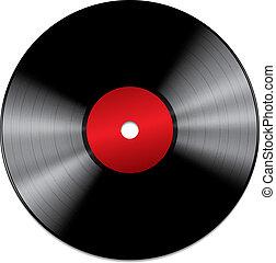 isolerat, rekord, svart, vinyl, bakgrund, vit