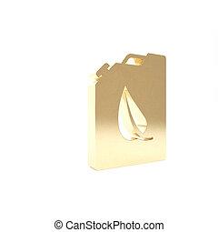 isolerat, render, drivmedel, ikon, miljö, kanister, 3, eco, bio, guld, illustration, bakgrund., barrel., recycle., vit, grön