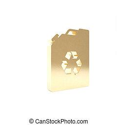 isolerat, render, drivmedel, ikon, miljö, kanister, 3, eco, guld, bio, illustration, bakgrund., barrel., recycle., vit, grön
