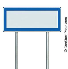 isolerat, signage, skylt, underteckna, pol, tom, pekare, blå...