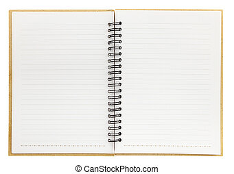 isolerat, spiral anteckningsbok, tom, vit, öppna