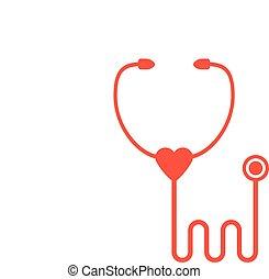 isolerat, stetoskop, bakgrund, vit röd, ikon