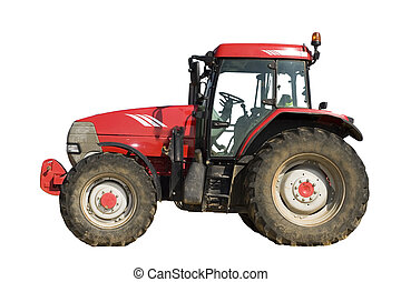 isolerat, traktor, röd