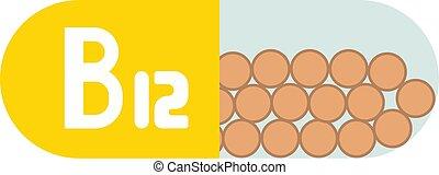 isolerat, vitamin b12, bakgrund, vita piller