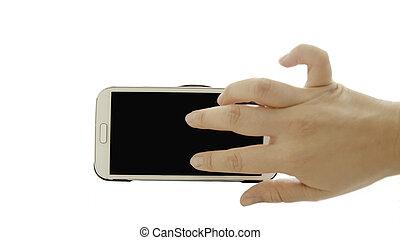 isoleren, zoom, hand, telefoon, achtergrond, smart