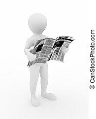 isoleret, baggrund, avis, hvid, læsning, mand