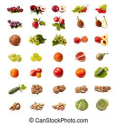 isoleret, frugt, og, grønsag, sæt