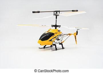 isoleret, gul, afsides, kontrollerede, helicopter